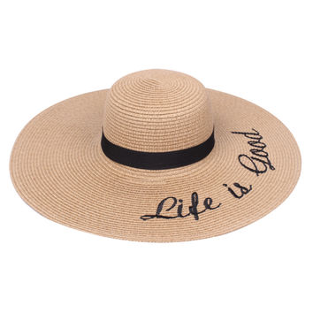 Beach Floppy Hats with Embroidered Verbiage.