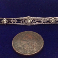 Antique Edwardian Sterling Silver Filigree Paste Rhinestones Bar Pin/Brooch   C-clasp closure   Marked Sterling