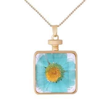 Fashion Blue Sunflower Photo Frame Necklace Square Crystal Pendant Jewelry Pretty Girl Dried Flowers Glass Necklace