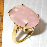 Rose Quartz Ring - Statement Ring - Rose Cab Ring - 18K Gold Plated Ring - Handmade Ring- Unique Ring, Brass Ring, Women Ring, Cocktial Ring