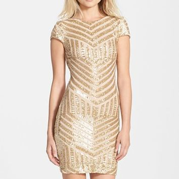 Women's Dress the Population 'Tabitha' Geometric Sequin Minidress,