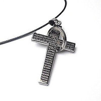 Black  Cross w/ Bible Verse Leather Cord  Mens Necklace