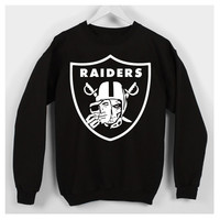 oakland raiders black fleece crew neck sweater
