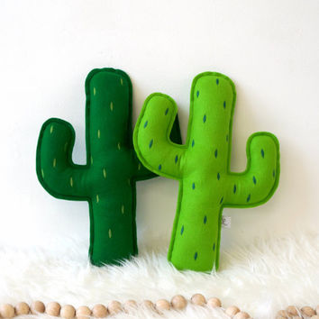 Cactus pillow with embroidered prickly points, Cactus nursery, Cactus Cushion, Tribal Nursery Decor, Adventure Nursery, Saguaro Cactus