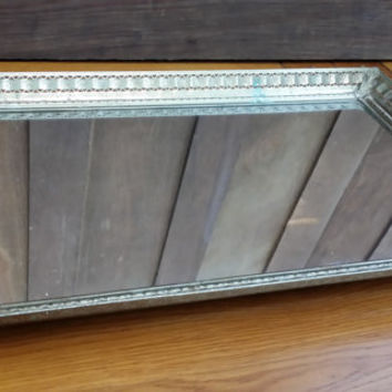 Vintage Ornate Gold Toned Rectangle Hollywood Regency Style Mirrored Dresser Vanity Tray Standing Mirror