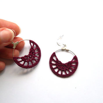 Bordeaux Lace Half Moons Threaded Hoops, Romantic Rose Burgundy Earrings, Maroon Thread Bohemian Earrings, Dark Red Wine Crochet Accessories