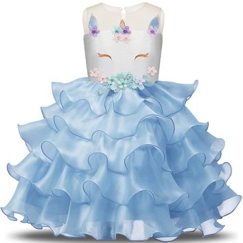 Fancy Kids Unicorn Tulle Layered Dress for Girls Embroidery Ball Gown Baby Flower Girl Princess Dresses Wedding Party Costumes