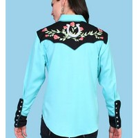 Scully Horseshoe Embroidered Retro Western Shirt - Sheplers