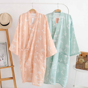 Women Lady Japanese-style Bathrobe Cotton Gauze Dress Yukata Kimono Soft Breathable Long Spring Summer