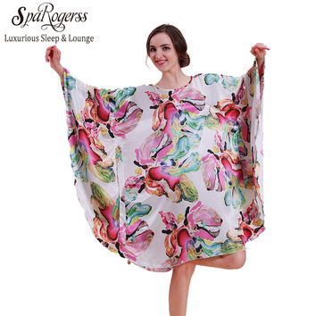 SpaRogerss Women Nightgown 2017 Big Size Summer Hot Sale Sleep Top Special Offer Faux Silk Women Sleepwear Home Sleepshirt 10101