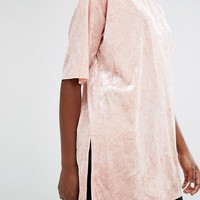 Monki Longline Velvet T-Shirt at asos.com