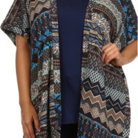 Knit Kimono Top & Tank 2pc-Plus Size-Navy Brown