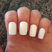 White nails, matte fake nails, acrylic nails