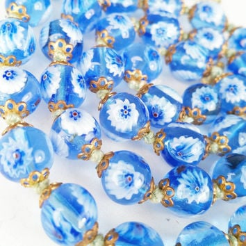 Vintage Millefiore Necklace Blue White Glass Flowers Italian Glass Hand Knotted