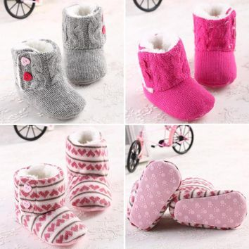 Amazing Infant Baby Girls Winter Snow Knitted Warm Shoes Boots Warm Prewalker First Walkers baby fashion warm Boots 5