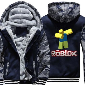 Fashion Roblox dabbing noob camouflage Hoodie Winter Casual Super Warm Jacket Coat Thicken Zipper Hooded Sweatshirts