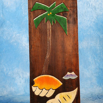 """PALM & SEA SHELLS"" RELIEF - 20"" CARVED & PAINTED - OCEANIC ART"