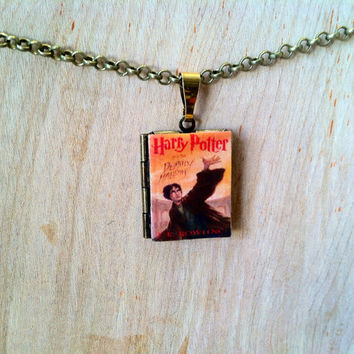 Harry Potter and the Deathly Hallows - Literary Locket - Book COver Locket Necklace