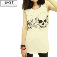 EAST KNITTING FREE X0-265 Women t shirt 2015 New Fashion Ladies Clothes Skull Print Vest Woman Skeleton tank Tops Free Shipping