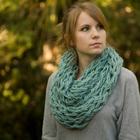 Knit Infinity Scarf, Mint Scarf, Spring Knit Cowl in Sea Green