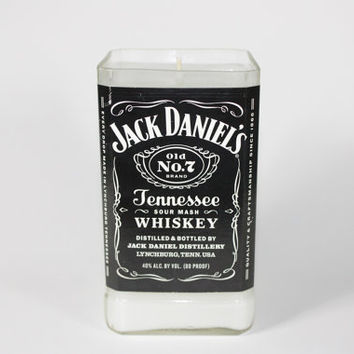 Jack Daniel's Candle, Candle Upcycled from Jack Daniel's Liquor Bottle, Custom Scent