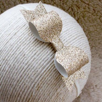 Gold glitter large bow elastic headband