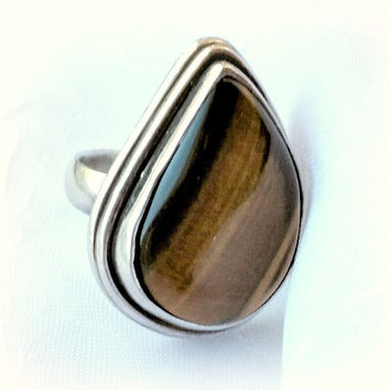 Tigers Eye Silver Ring, 925 Sterling, Size 7, Teardrop, Bezel Set, Natural Polished Stone, Boho, Hippy