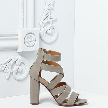 Stone Leatherette Thick Multi Strap Heels