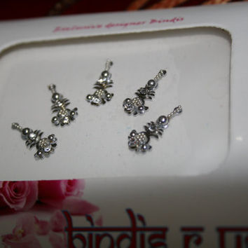 Designer Bindis Indian Fancy Dots in SILVER tone.