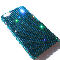 For BlackBerry Classic Q20 - Zircon - Turquoise - Rhinestone BLING Back Case handmade with 100% Crystals from Swarovski