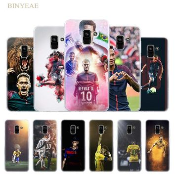 BINYEAE Soccer player Neymar 10 Silicone Case cover for Samsung A6 8 Plus 2018 3 5 7 2016 2017 Transparent Soft TPU