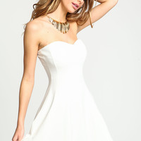 Ivory Gold Collar Strapless Dress