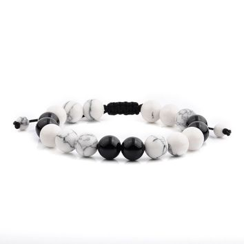 Men's White Turquoise and Black Onyx Polished Natural Healing Stone Bead Adjustable Bracelet - 8 inches (10mm Wide) | Overstock.com Shopping - The Best Deals on Men's Bracelets