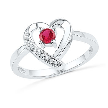 Sterling Silver Womens Round Lab-Created Ruby Solitaire Diamond Heart Ring 1/4 Cttw 101245