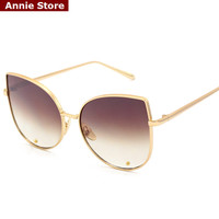 Sexy new cat eye sunglasses 2016 woman 6 color metal oversized eye cat sunglasses women brand 2016 uv mirror lentes de sol