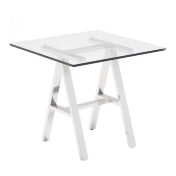 Saw-Horse End Table | Clear & Chrome