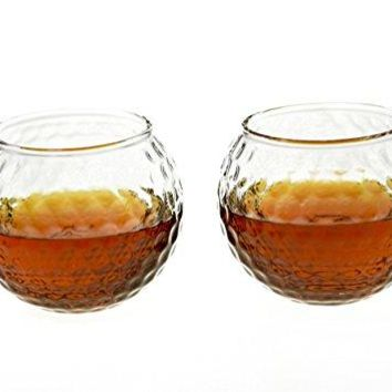 Golf Whiskey Glass – 10 oz Unique Golf Ball Shaped Rocks Glass (other designs available) for Bourbon, Scotch, Brandy - Old Fashioned / Rocks Glasses from Prestige Decanters (Set of Two - Golf Ball)