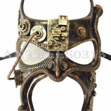 New ! Steampunk Fantasy Aesthetic Gold Half Face Men Masquerade Costume Mask