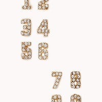 Rhinestoned Numerical Stud Set