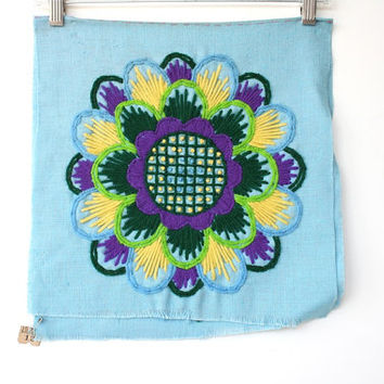 Crewel Embroidery - Finished Crewel Pillow Kit - Vintage Needlework - Fiber Art Wall Hanging - Blue Yellow Purple 1970s Decor - Hippie Decor