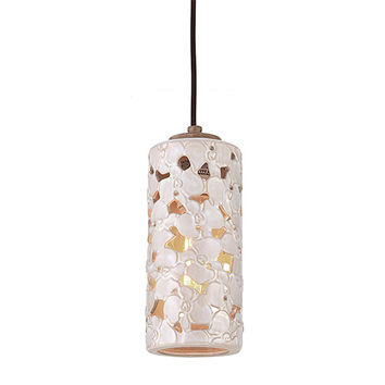 Feiss P1323WTPC/BD Azalia White Taupe Ceramic and Beach Wood One-Light Mini Pendant