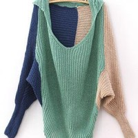 Color-Blocked Raglan Sleeves Hoodie Jumper