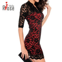 Hello Rose :8 Colors Plus Size Summer Dress 2015 V-Neck Casual Evening Dresses Sexy Slim Lace Dress Package Hip Short Sleeve
