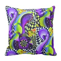 Retro Abstract Electric Blue and Harlequin Green Throw Pillow