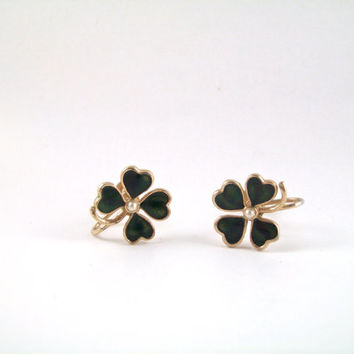 Vintage Screw Back Pearl,Gold and Green Shamrock Earrings
