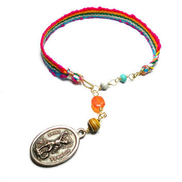 Woven Friendship bracelets saint Michael medallion by zurdokero