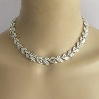 Silver Leaf Bridal Wedding Choker Necklace Earring