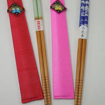 Vintage Japanese Chopsticks Silk Case Lacquer Bamboo Japanese Chinese Chopsticks Hashi Silk Cases Set of Four 4