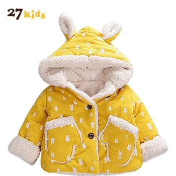 27Kids Baby Coat for Girl Cute Rabbit Hooded Clothes Winter Warm Coats Top Kids Outerwear 2018 Children Clothing Baby Costume
