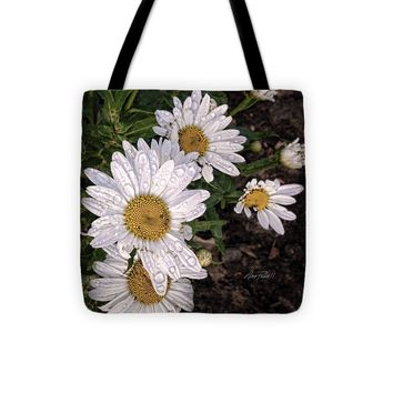 "Daisies After The Rain - flower photography Tote Bag 13"" x 13"""